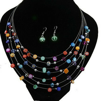 Beaded Multi Strand Necklace and Drop/Dangle Earring Set-Multicolor AS