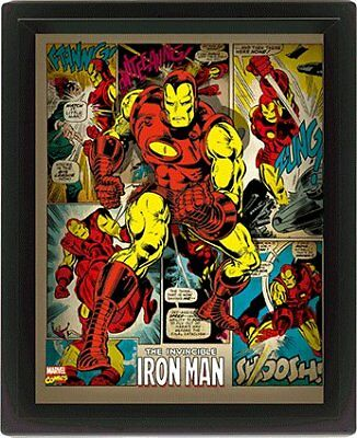 Iron Man Retro Comic Book Montage Marvel 3D Motion Fan Poster Photo Official