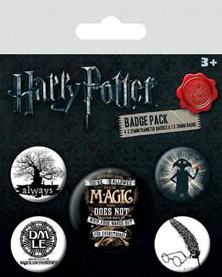 Harry Potter Set Of 5 Pin Badges Movie Film Hogwarts Dobby Fan Gift Official