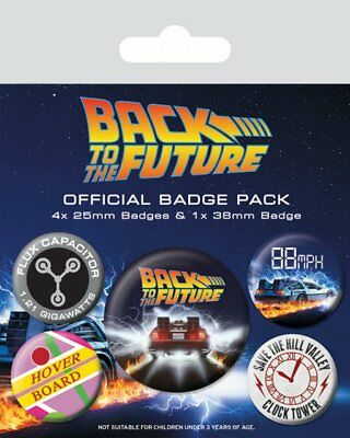 Back To The Future Set Of 5 Pin Badges Movie Film Delorean Hover Board Official