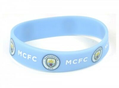 Manchester Man City FC New Badge Crest Blue Rubber Wristband Bracelet Official