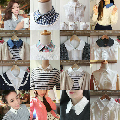 Fashion Womens Half Shirt Fake Lapel Collar Necklace Peter Pan Choker Top Tie