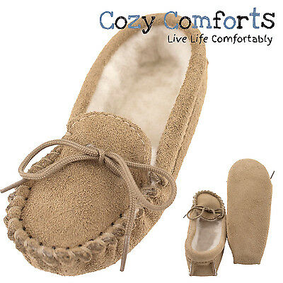 Childrens Genuine Suede and Lambswool Moccasin Slippers with Soft Sole