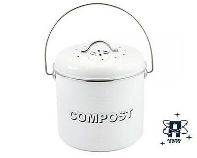 New Vintage Style Retro Enamel White Large Kitchen Compost Tin Bin Container
