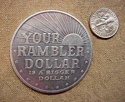 RAMBLER AUTOMOBILE 1960's ALUMINUM DOLLAR STANDARD EXCELLENCE ADVERTISING COIN