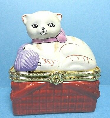 Porcelain Cat In A Basket Hinged Trinket Box #2