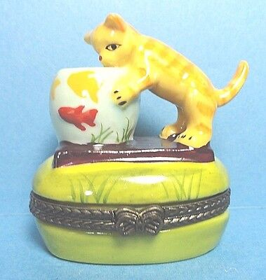Porcelain Cat With Fish Bowl Hinged Trinket Box  With Fish Inside Box