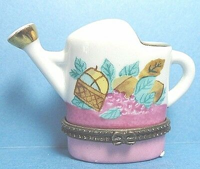 Porcelain Watering Can Hinged Trinket Box