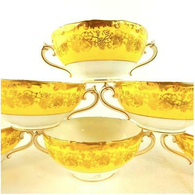 Seven Coalport Hazelton Twin Handled Soup Cup Bowls Yellow & Gold Border