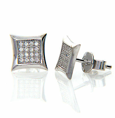 5b430ae13 925 Sterling Silver Micro Pave Cubic Zirconia CZ Kite Stud Earrings Men  Women