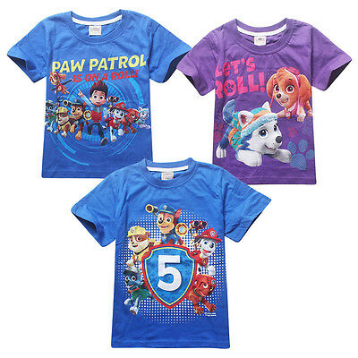 2016 Cute Kids Boys Girls Casual PAW PATROL Cartoon T Shirt Leisure Shirt 3-7 Y