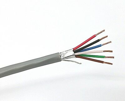 25' West Penn 3270 6 Conductor 22 Gauge Shielded Cable ~ 6C 22AWG CMR