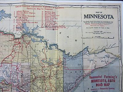 Vtg 1929 Original Map Minnesota Auto Road Highways Kenyon Co Art Print Poster