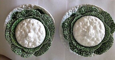 Pair of Portuguese Ceramic Cabbage Covered Dishes