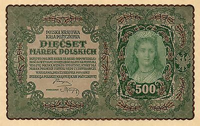 POLAND Europe 500 Marek aUNC 1919 p-28 large sized note