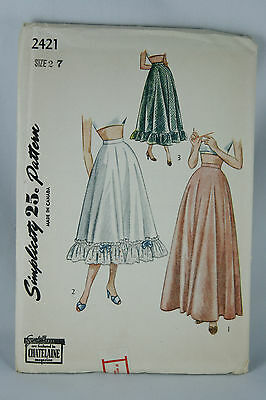 Vtg Simplicity Pattern Junior Misses Petticoat 2421 Size 27 Sealed