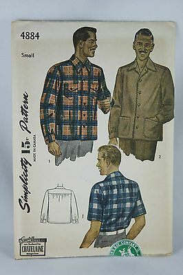 Vtg Simplicity Pattern 4884 Mens Shirt Jacket Size Small Sealed Never Used