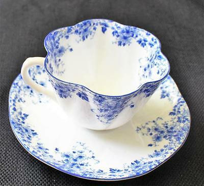 Vintage SHELLEY Bone China England DAINTY BLUE Set Cup & Saucer #051/28
