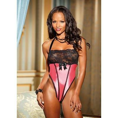 Shirley of Hollywood Sexy Charmeuse and Stretch Lace Thong Teddy