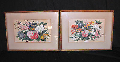 Pair Antique Chinese Watercolors on Fabric Framed Early 20th Century