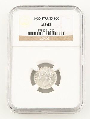 1900 Straits Settlements 10 Cents Silver Coin MS-63 NGC Victoria 10c Cent KM#11