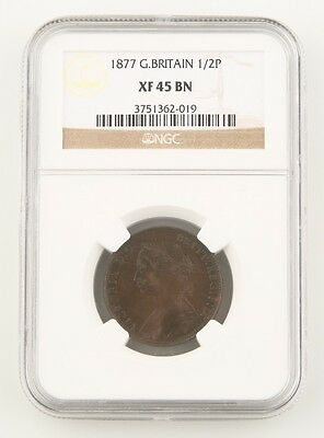 1877 Great Britain 1/2 Penny Bronze Coin XF-45 BN NGC Victoria Half Cent KM#754