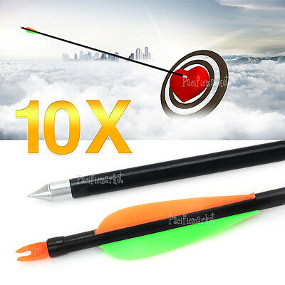 "10X 32"" FiberGlass Arrows 15-80lb Archery Hunting Compound Bow Fiber Glass Bows"