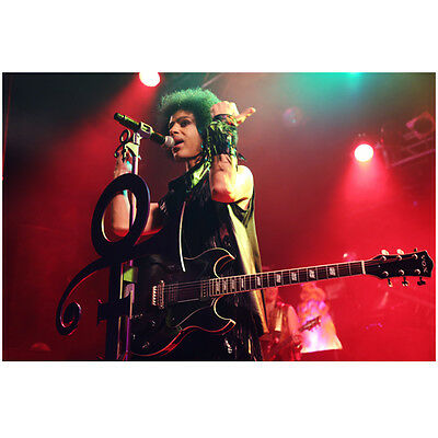 Prince Performing on Stage Holding Arms Up by Mic 8 x 10 inch photo