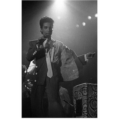 Prince on Stage Singing and Dancing with Suit Jacket Open 8 x 10 inch photo