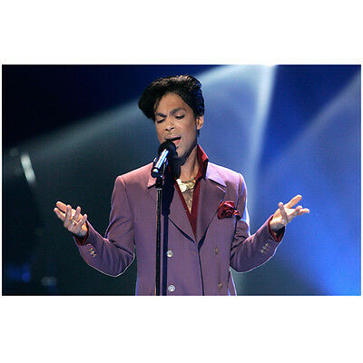 Prince Singing into Mic Wearing Purple Holding Hands Out 11 x 14 inch photo