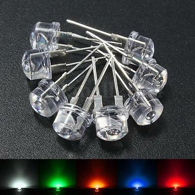 20x 8mm Dia Straw Hat Round Clear 5 Color SMD LED Light Emitting Diode Lamp Bulb