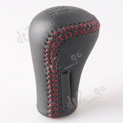 JDM 5 MT Manual Leather Shifter Shift Knob Red Stitch for Toyota Lexus TRD Black
