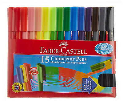 2 x Faber Castell 15 Connector Pens Sketch Marker Textas Pens That Clip Together