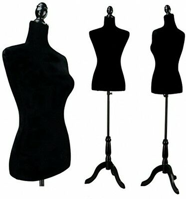 Black Female Velour-Like Fabric Mannequin Dress Form (On Black Tripod Stand)