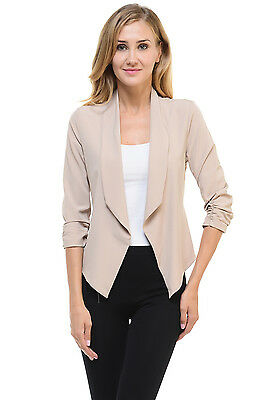 Auliné Collection Women's Casual Lightweight 3/4 Sleeve Fitted Open Blazer