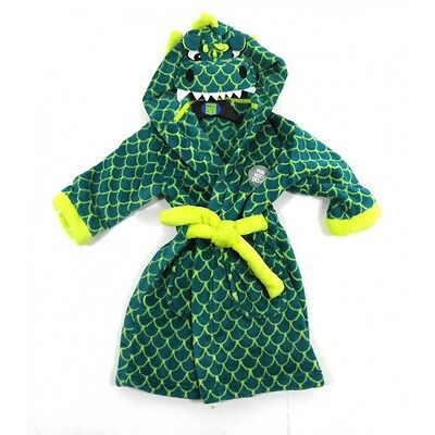 Ex Marks & Spencer Boys Green Dragon Hood Dressing Gown Robe 4 5 6 7 8 Years New