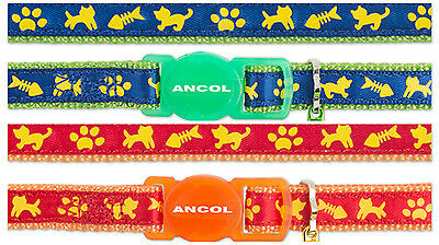 ANCOL CAT & FISH PRINT CAT COLLAR with or without Engraved ID Tag