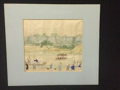 19th Century Antique Chinese Export Trade Painting On Silk