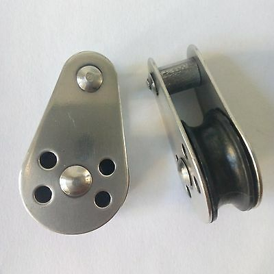 2 x 25mm Boat Pulley Block w Nylon Sheave & Fixed Pin Marine 316 Stainless Steel