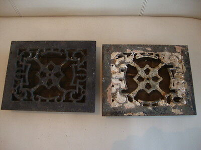 Antique/Victorian/19th Century Ornate Cast Iron Air Vent x 2 Open/Close Working