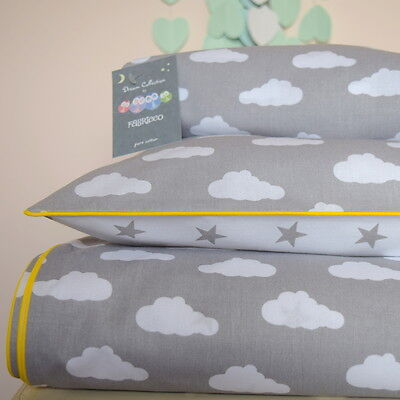 100%COTTON Cot Bed Duvet Cover Set Girls  Boys Grey Stars Clouds Bumper Sheet
