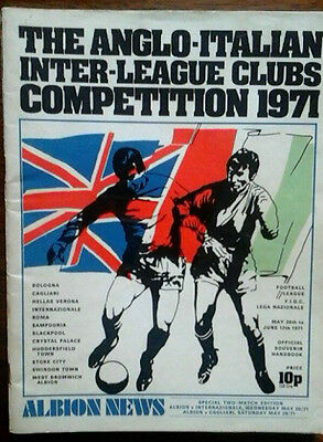 West Brom V Inter/cagliari 1971 Anglo Italian Cup Double Issue