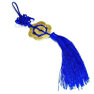FENG SHUI 8 FORTUNE COIN TASSEL BLUE Hanging Cure Love Peace Contentment Trust