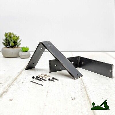 Rustic Chunky Industrial Metal Brackets For Solid Wood Shelves (set of 2) OMB