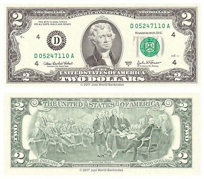 United States USA 2 Dollars 2003 Series D (Cleveland) P-516b Banknotes UNC