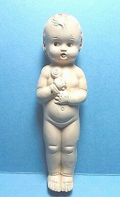 Vintage Small Plastic Baby Doll Holding A Rattle