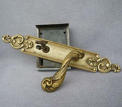 Antique french door handles set lock with key early 1900's bronze mansion castle