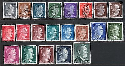 21 GERMANY 1941-44 Deutsches Reich Adolph HITLER Stamps Postage Sc# 506-524 USED