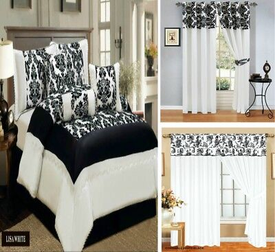 Bedspread Flock 7 Pieces Available Matching Curtain Pencil Pleat White Black