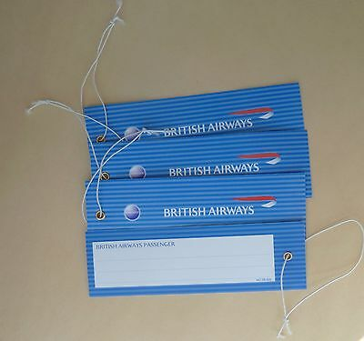 British Airways  Airlines Luggage Bag Name Tags Lot of (4) Tags NEW
